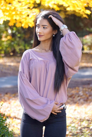 Blush Balloon Sleeve Top