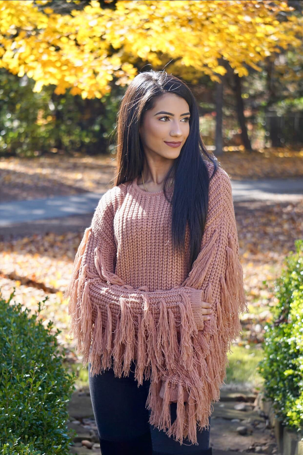Camel Fringed Sleeve Woven Knit Sweater