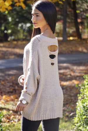 Stone Distressed Sweater