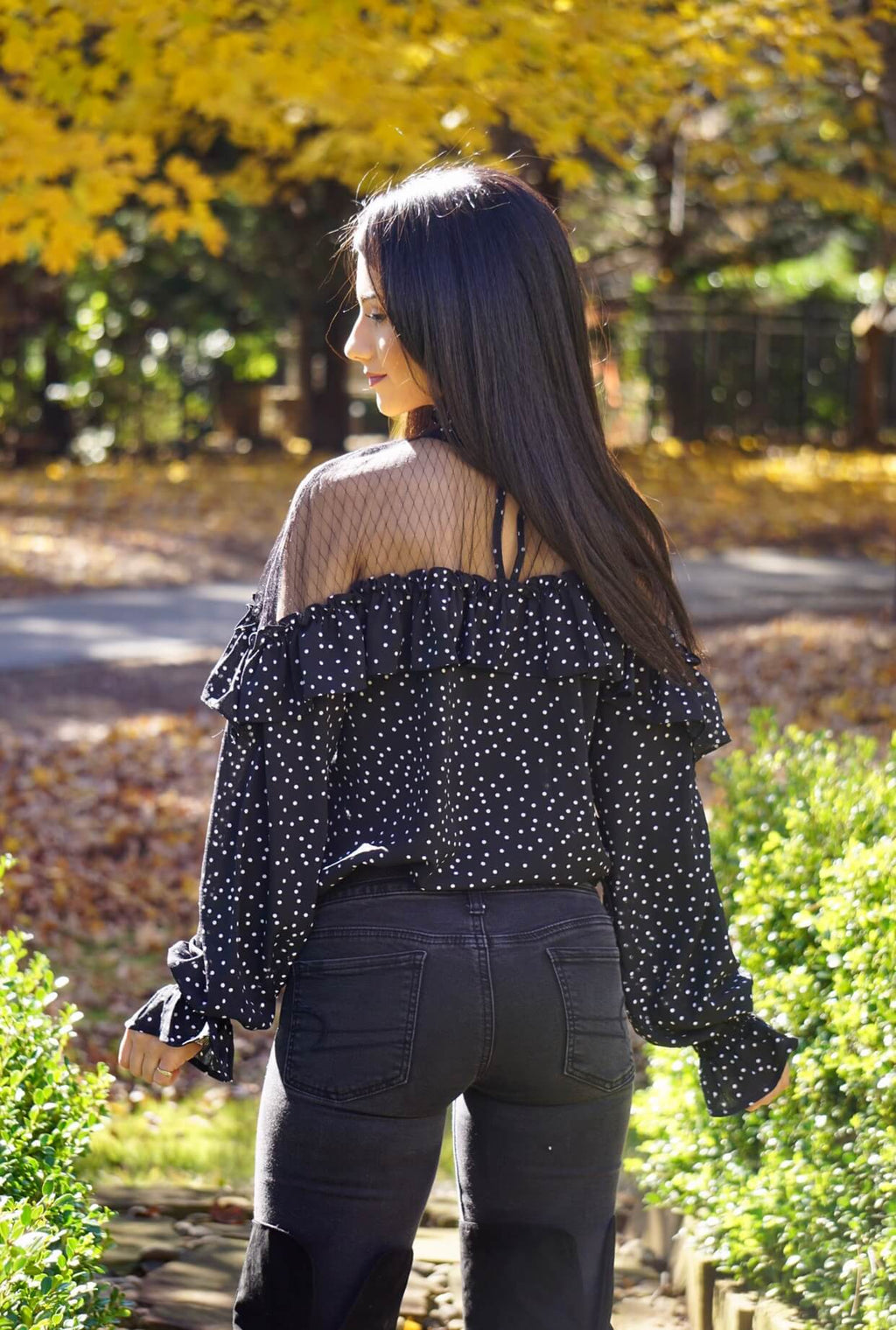 Shoulder Mesh Polka Dotted Blouse
