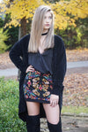 Black Floral Embroidered Zipper Back Skirt