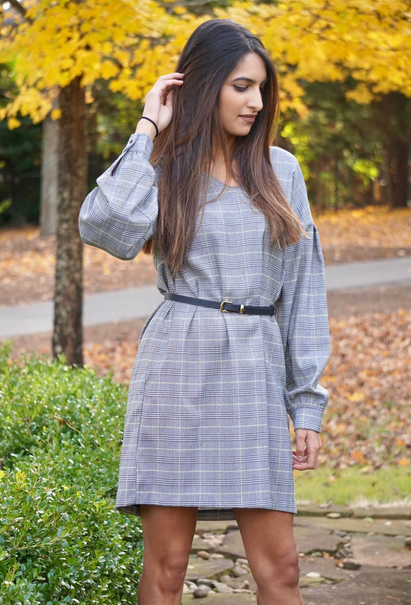 Black and Yellow Plaid Long Sleeve Work Dress