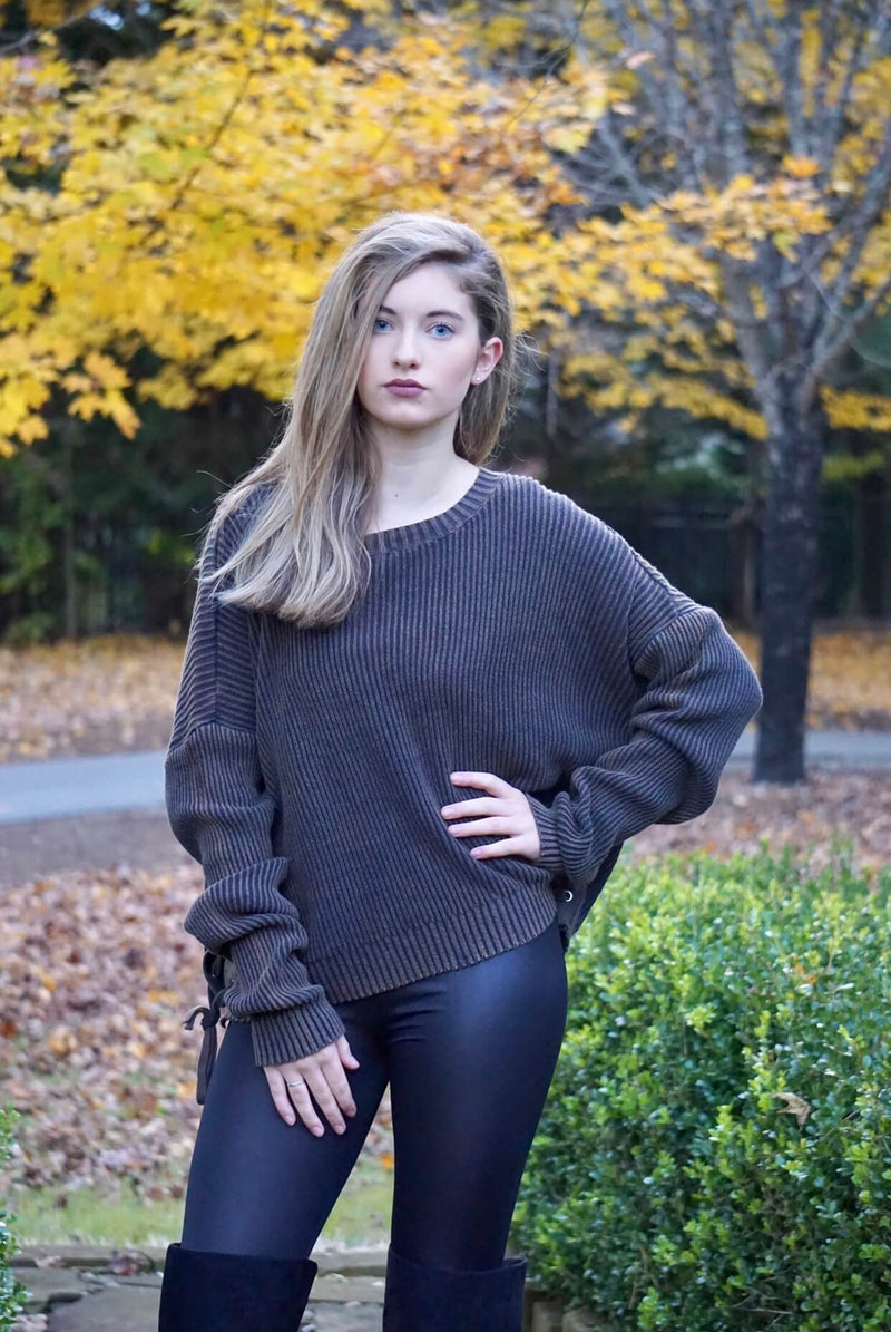 Brown Acid Wash Lace Up Side Sweater