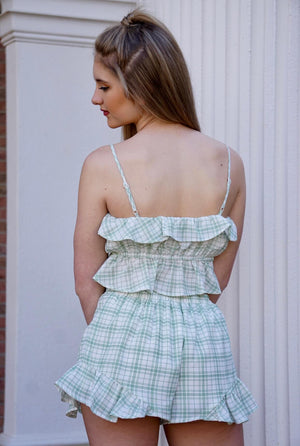 Green Grid Ruffle Spaghetti Strap and Shorts Crop Set