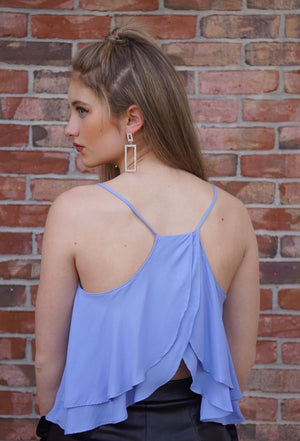Blue Spaghetti Strap Ruffle Open Back Top