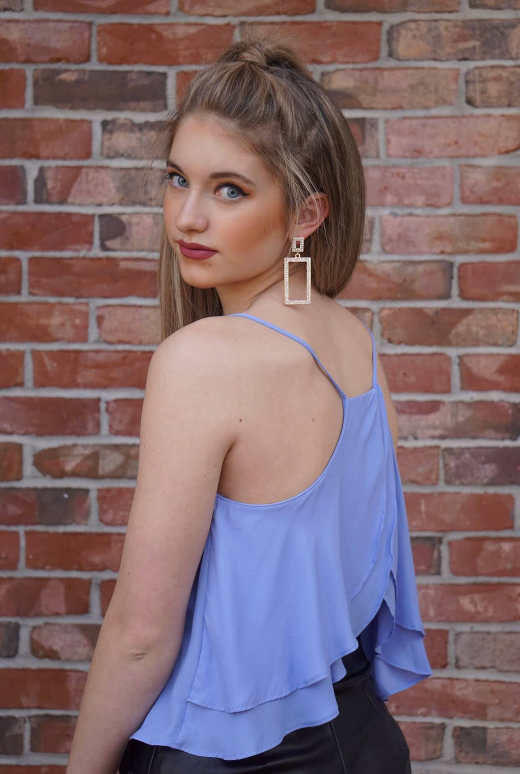 Ruffle Open Back Top