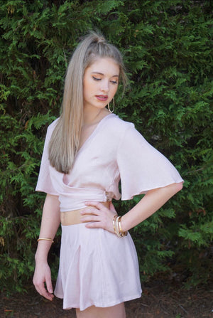 Blush Pink Butterfly Sleeve Wrap Top and Shorts Set