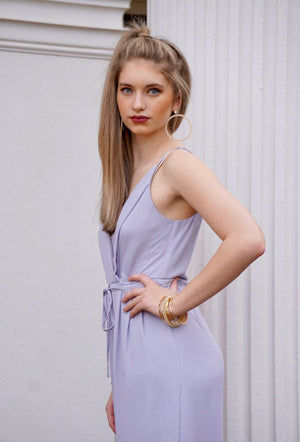 Lilac Pleated Waist Tie Jumpsuit with adjustable straps