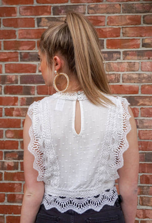 White Dotted Material Crochet Crop Top