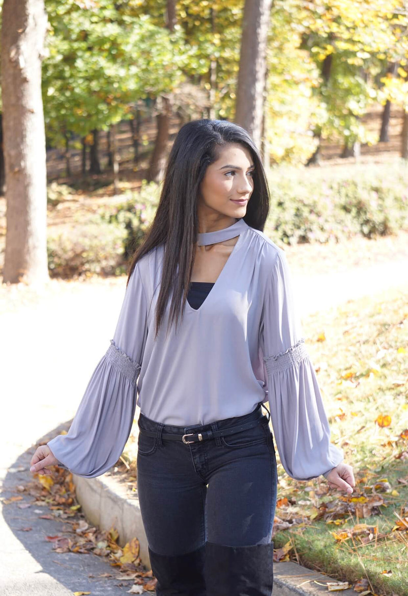 Grey Choker Bishop Bubble Sleeve Blouse