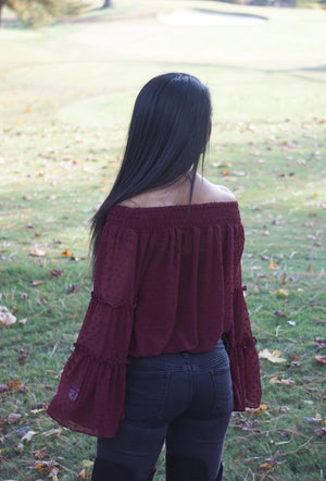 Burgundy Smocked Off The Shoulder Ribbed Bell Sleeve Top