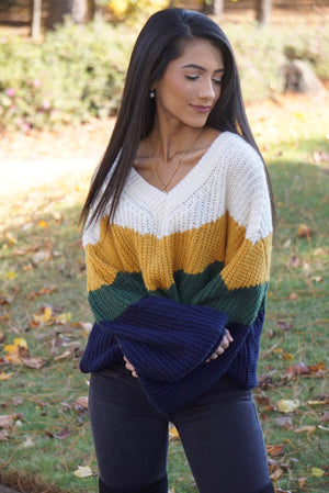 Navy Chevron Tiered Handwoven Balloon Sleeve Sweater