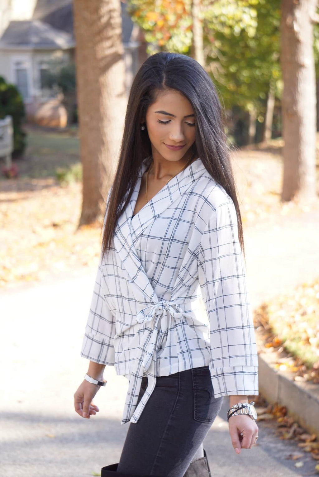 White Grid Bowtie Side Wrap Work Blouse
