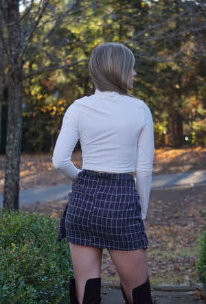 Navy Rachel Green Inspired Checkered Mini Skirt With Black Belt