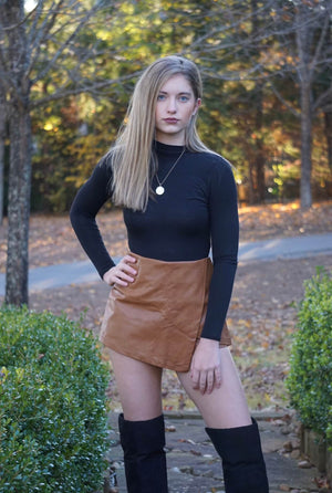 Camel Leather Envelope Mini Skort