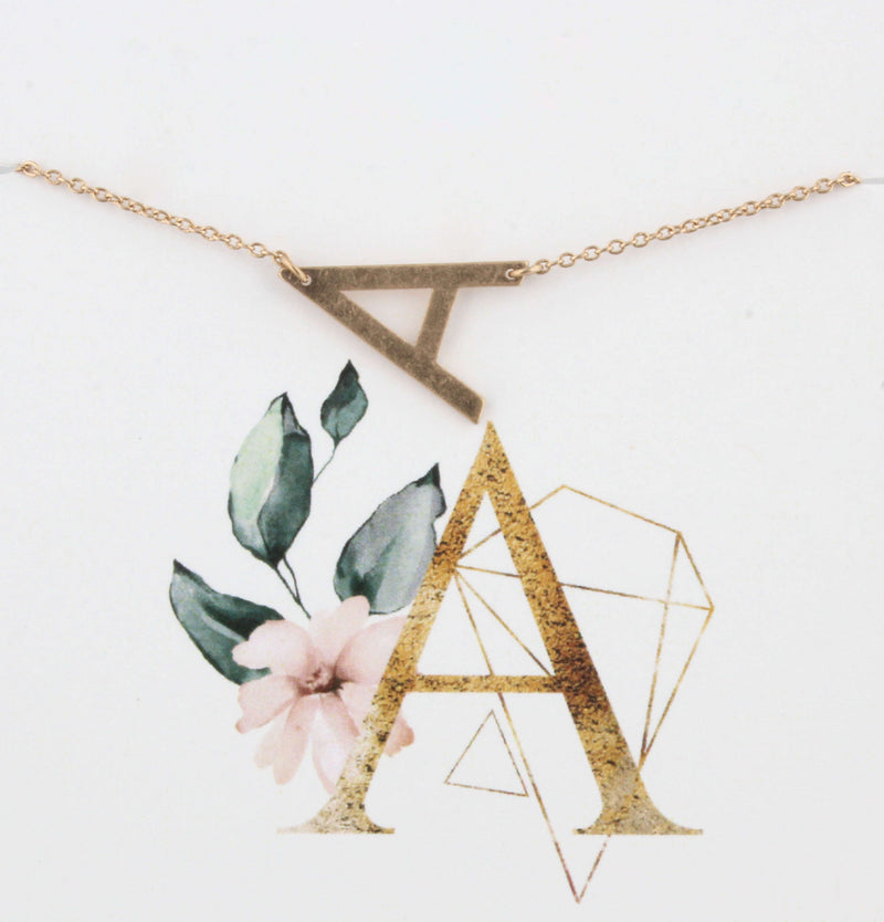 Block Initial Letter Necklace for Women