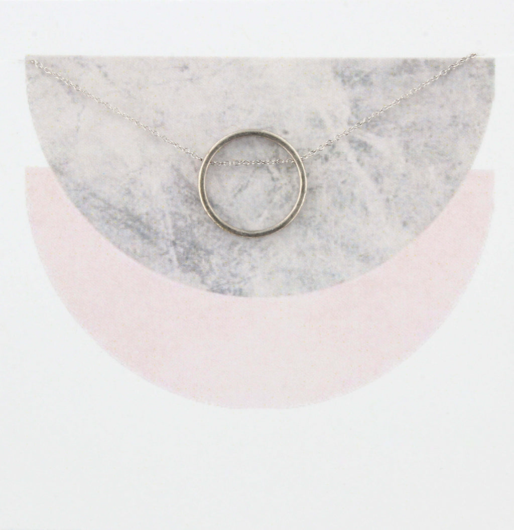 Silver Moon Circle Necklace