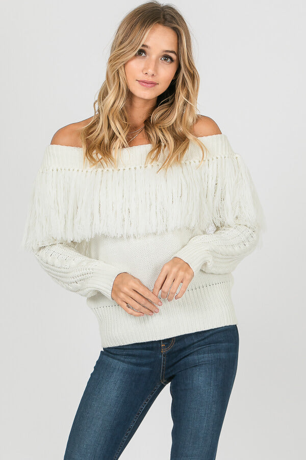 On the Fringe + Off the Shoulder Sweater