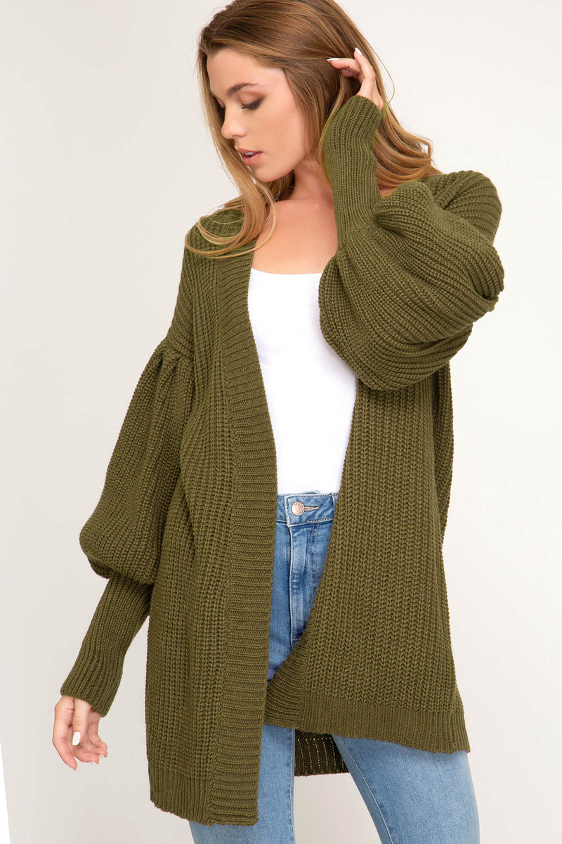 Olive You Dearly Balloon Sleeve Cardigan