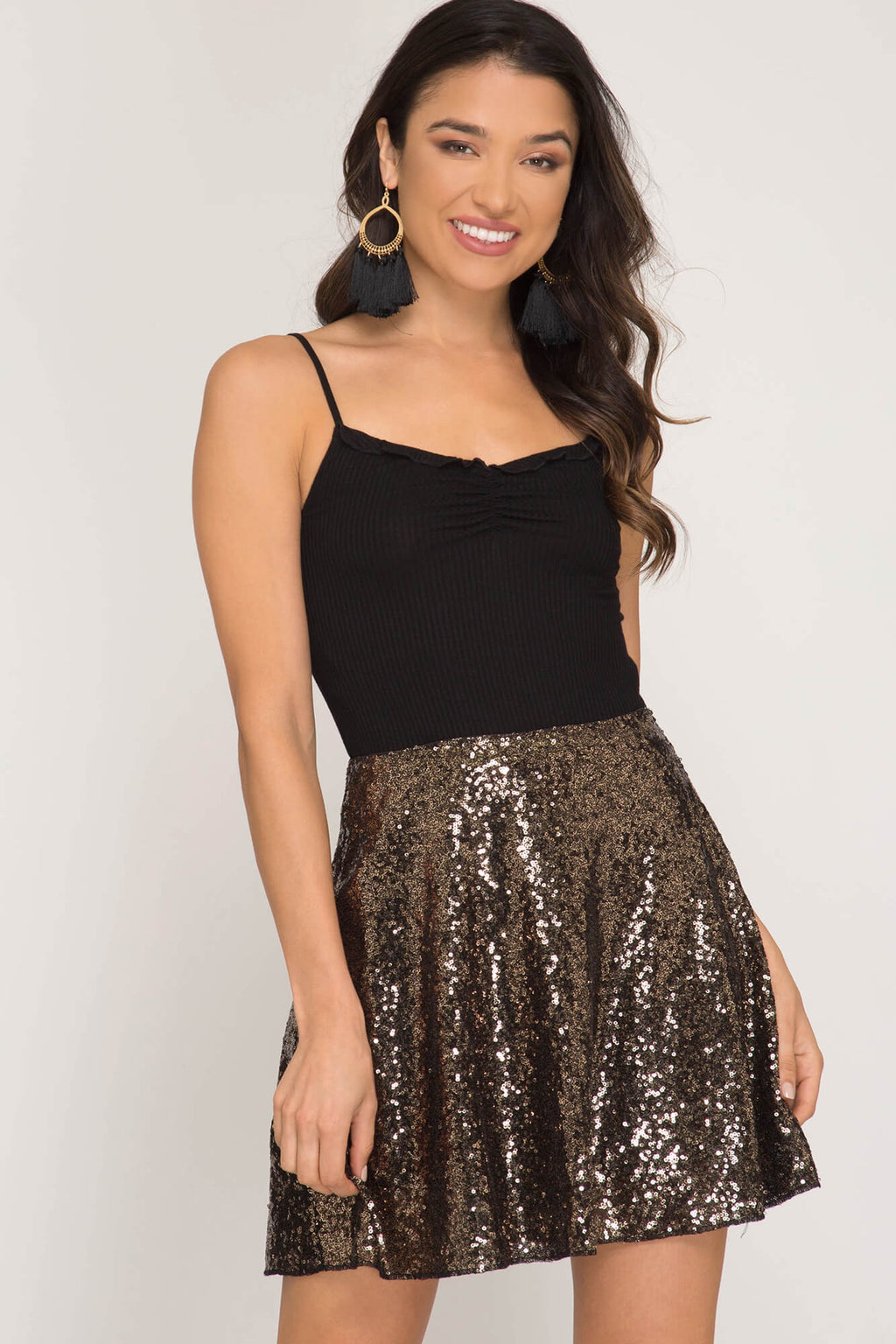 Get This Party Started Sequin Skater Skirt