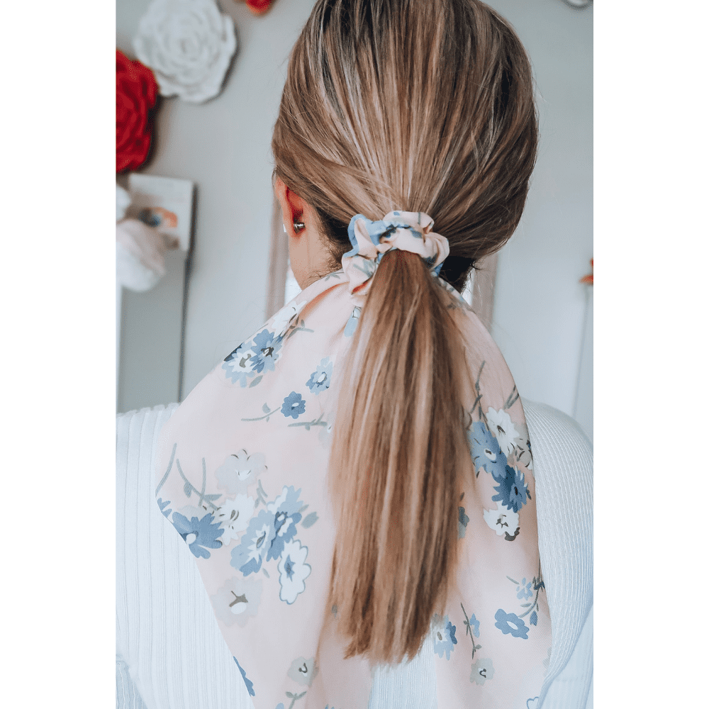 Blush Floral Long Ribbon Scrunchie Headbands Of Hope