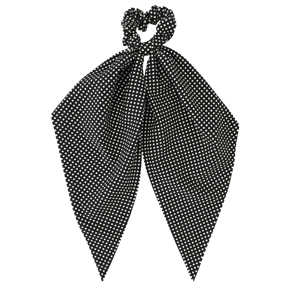 Black ad White Polka Dot Long Ribbon Scrunchie Headbands Of Hope