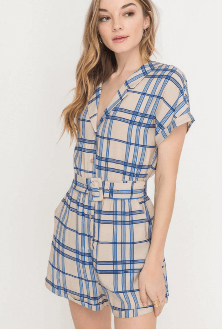 Don't Waist My Time Grid Romper