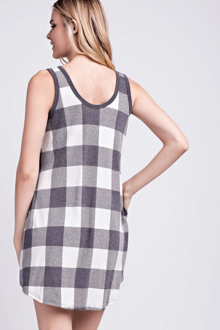 black and white square jersey dress, summer jersey dress, jersey dress for women