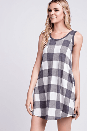 summer jersey dress, checks jersey dress