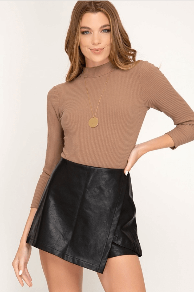 Black Leather Envelope Mini Skort