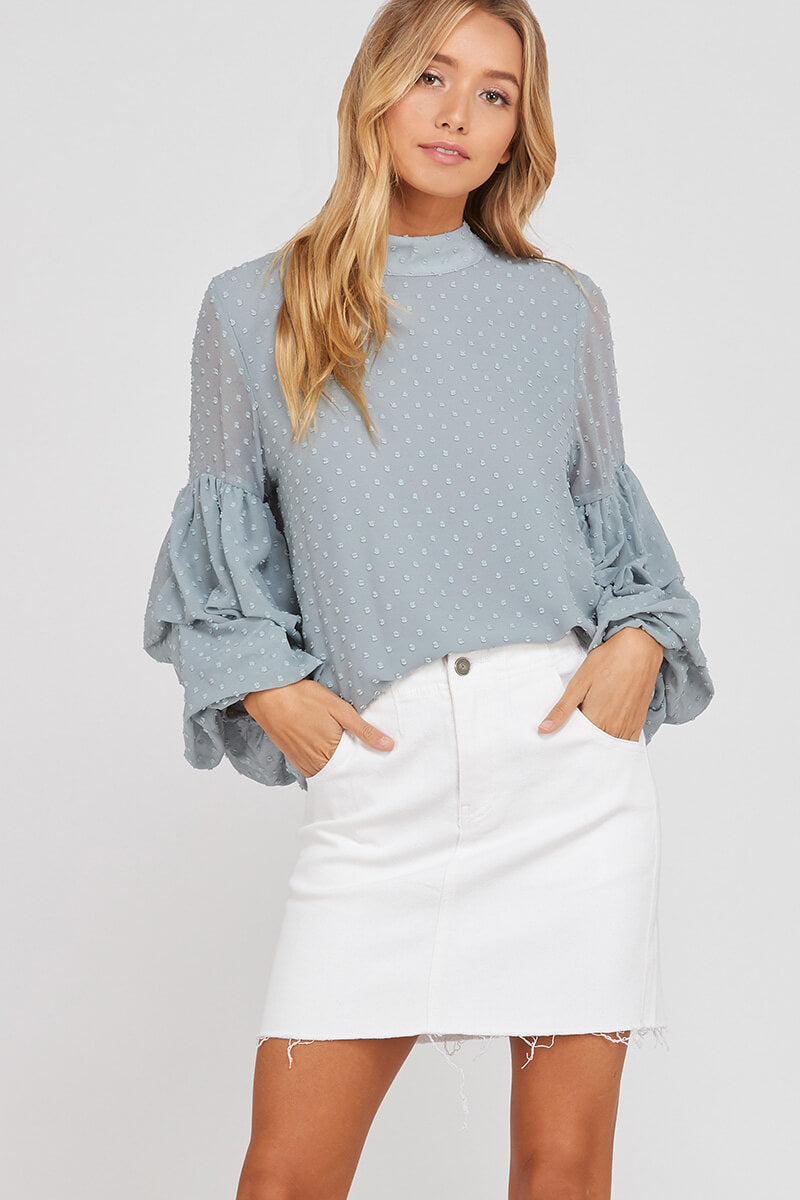 Spot Enough Drama Bubble Sleeve Blouse