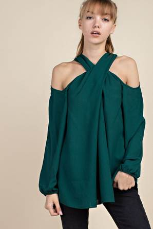Hunter Green Cross-front Off The Shoulder Blouse