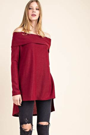 Burgundy Fold-over Off the Shoulder Hi-Low Sweater Tunic