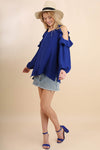 Feeling Blue Cold Shoulder Blouse
