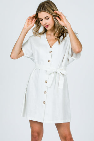 Nice to Meet You Linen Button Dress