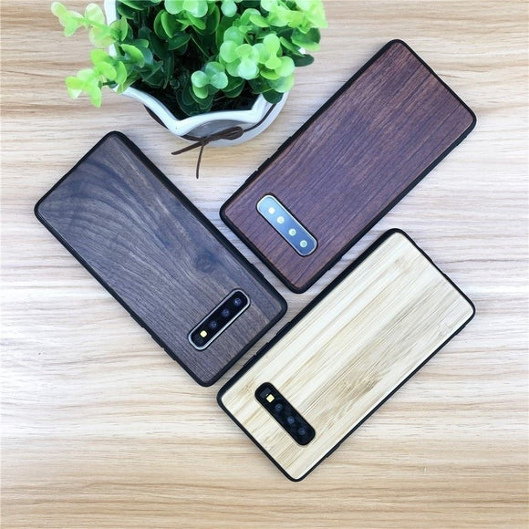 Phone Case For Samsung Galaxy Note 9 8 10 Plus Cover Luxury Wooden + Silicone Cover