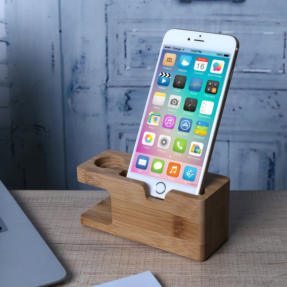 Bamboo Charging Dock Station for Mobile Phone Holder