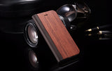 Natural Wood Case with Leather Flip for IPhone