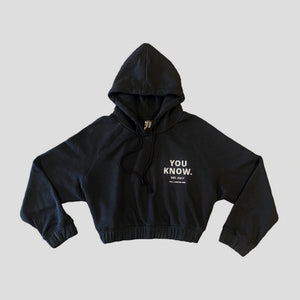 LAZY COLLECTION CROP HOODIE - BLACK
