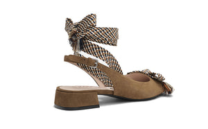Uterqüe Buckled Slingback Shoe with fabric ties