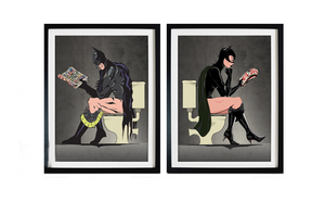 X BATMAN & CAT WOMAN PRINT