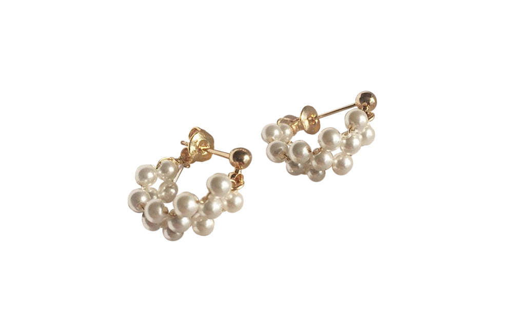 PEARL BRAID STUD EARRINGS