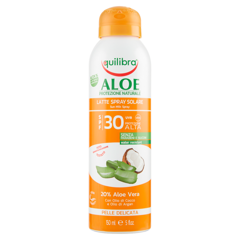 Image of equilibra Aloe Latte Spray Solare SPF 30 Pelle Delicata 150 ml