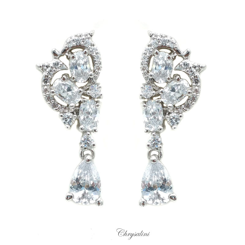 Chrysalini BAE0014W Rhodium Earrings