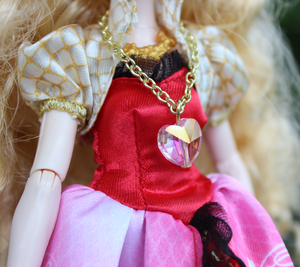 Doll Fairy Crystal Heart Necklace for Small Dolls - The Doll Fairy
