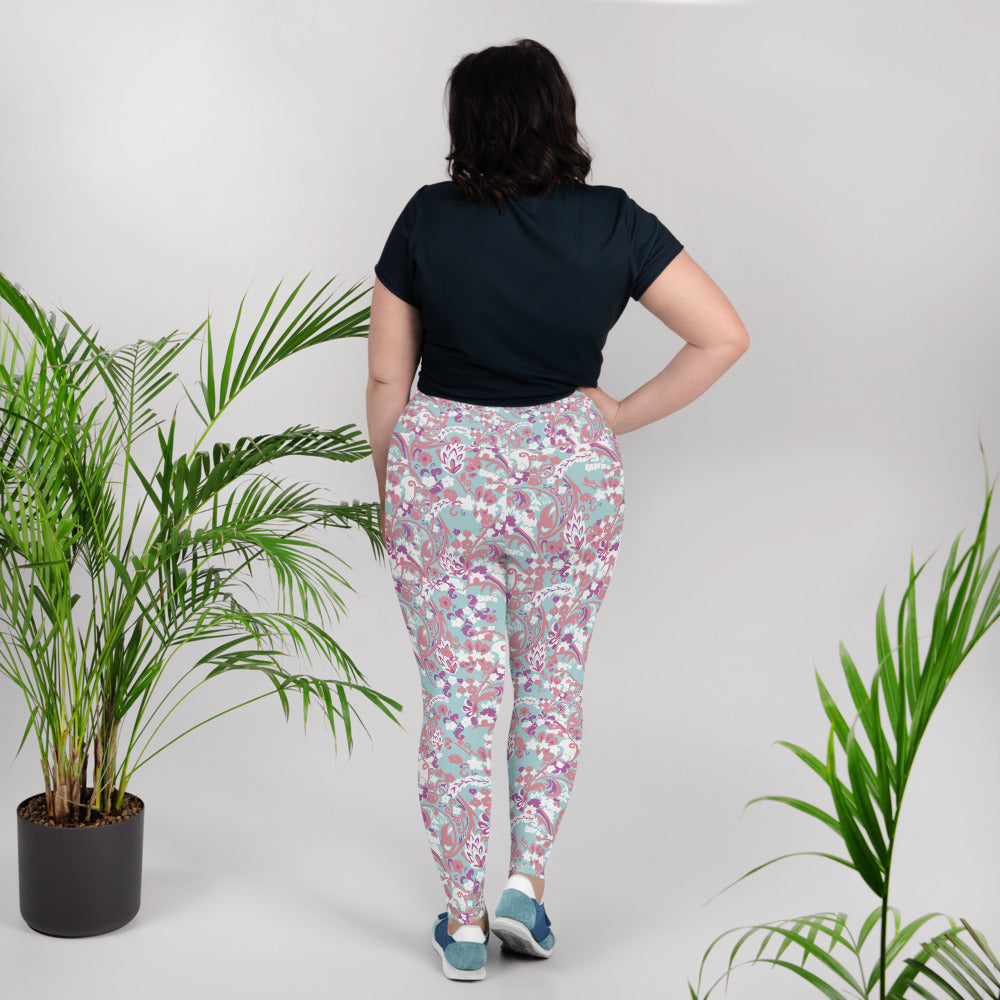 Doll Fairy Tropical Brocade Plus Size Leggings - The Doll Fairy