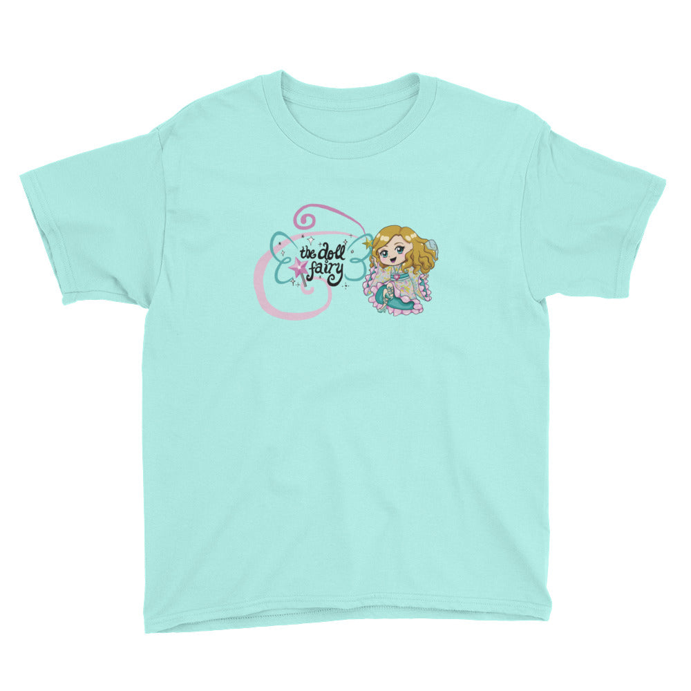 Doll Fairy Wings Youth Short Sleeve T-Shirt (White, Pink, Teal) - The Doll Fairy