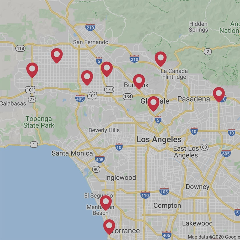 map with red pins showing the ten store locations for Catalina Paints in Los Angeles