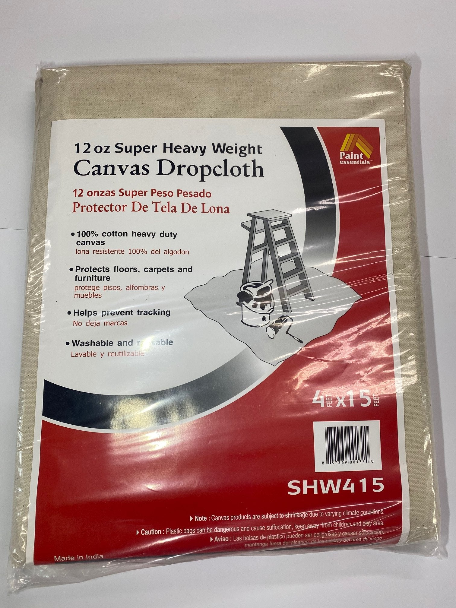 4'x15' Drop Cloth Canvas Heavy Duty 12oz., available at Catalina Paints in CA.