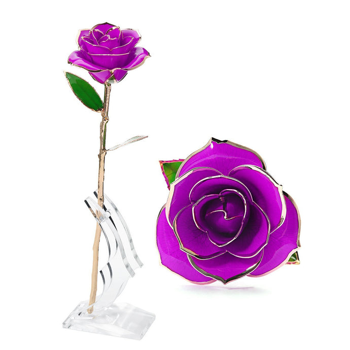 Gold purple Rose from Real Natural Rose